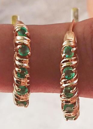"""Повседневные серьги-кольца золото 585 природный изумруд """"приам..."""