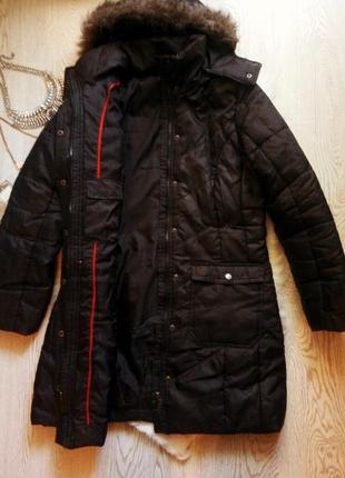 Черная длинная куртка деми с искусственным мехом капюшоном кар...