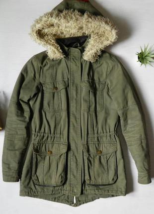 Теплая парка от hudson & rose пальто с капюшоном кожаные вставки
