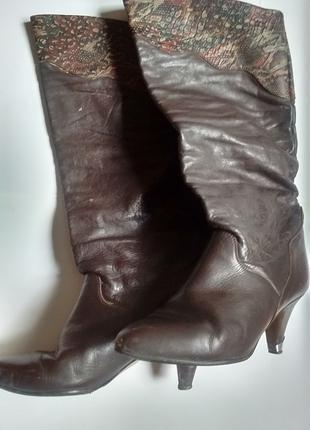Сапоги коричневые тёмные кожаные гармошкой с каблуком ссср советс
