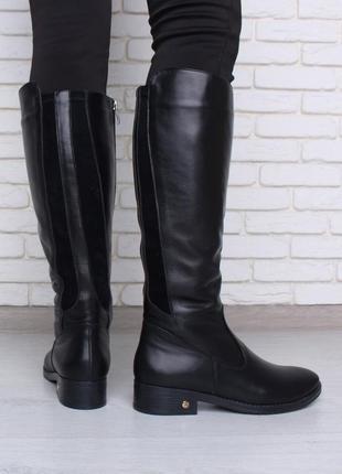 Кожаные женские зимние черные сапоги с резинками сзади низкий ...