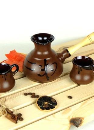 Турка Иероглиф мокко керамическая с деревянной ручкой и чашкам...