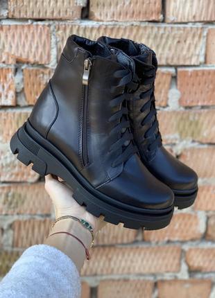 Женские кожаные ботинки {зима}