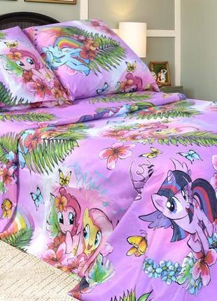 Постельный комплект пони для девочек, полуторное постельное белье