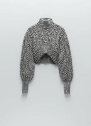 Вязаный укороченный свитер косы в стиле zara