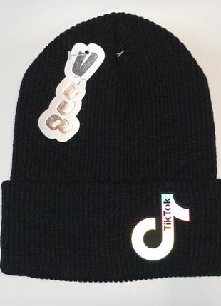 Зимняя шапка с отворотом бини унисекс двойная вязка тик ток