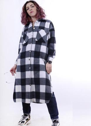 Клетчатое пальто-рубашка, рубашка-плед, клетчатая длинная туника