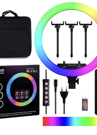 Кольцевая LED лампа RGB MJ-18, 436 диодов, 45 см (с сумкой)