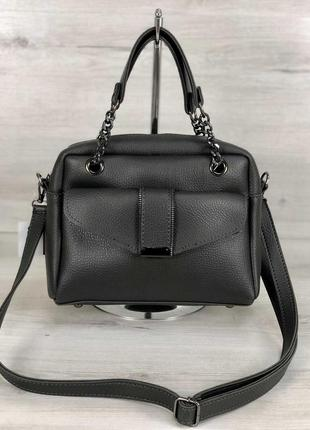 Женская сумочка кросс-боди серого цвета
