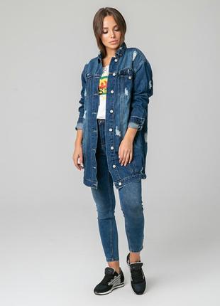 Удлиненная джинсовая куртка, кардиган