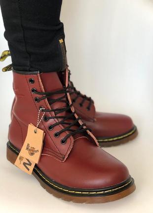 Высокие бордовые кожаные ботинки - мужские