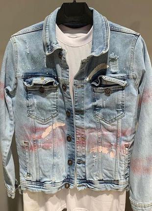 Джинсовка мужская с принтом рваная варенка / джинсовая пиджак ...