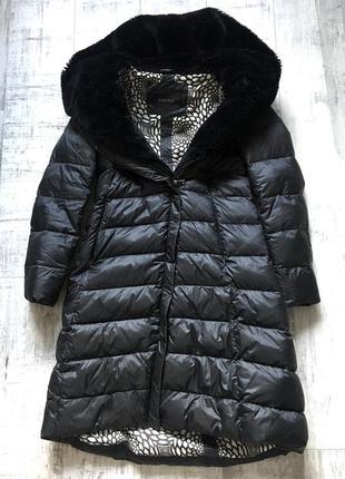 Зимний пуховик с меховым капюшоном. женское пальто