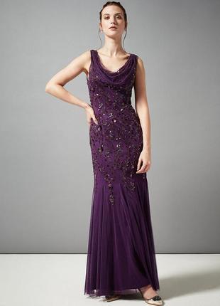 Эксклюзивное новогоднее вечернее платье цвет бургунди 3d цветы...