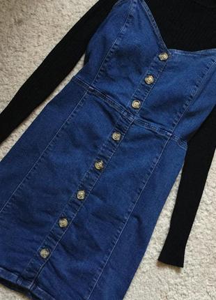 Платье джинсовое на тонких бретельках сарафан на пуговицах den...