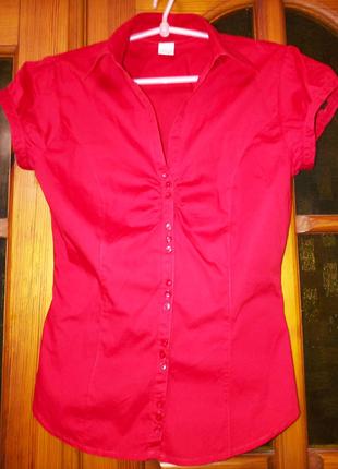 Блуза женская Camaieu красная с декоративными пуговицами,42 р, XS