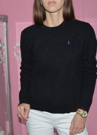 Шерстяной черный свитер джемпер polo ralph lauren шерсть ламы