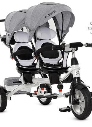 Велосипед детский трехколесный для двойни
