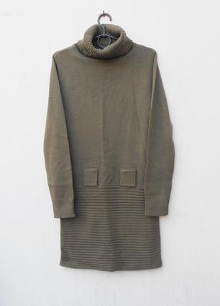 Вязаное теплое осеннее зимнее платье с горлышком с длинным рук...