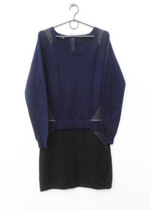 Осеннее зимнее теплое платье с длинным рукавом 60% шерсть 20% ...