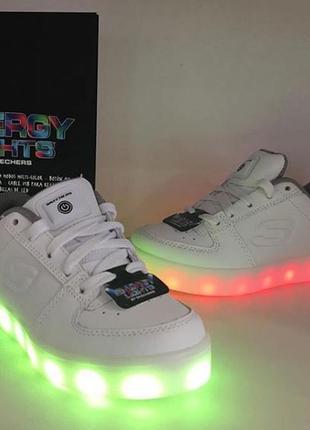 Кроссовки белые кожаные натуральные с подсветкой led skechers ...