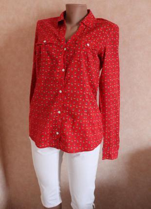 Рубашка,красная, ультрастильная вещь!! в принт корабликов,  ра...