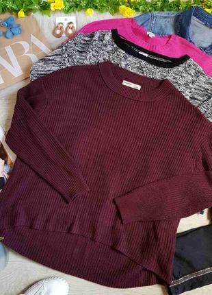 Бордовый свитер оверсайз