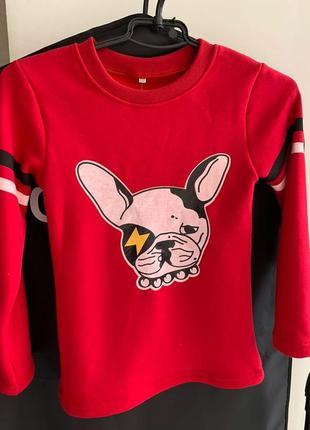 Детская кофта красного цвета с принтом собаки на флисе, утепле...