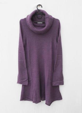 Осеннее зимнее мохеровое вязаное платье с длинным рукавом