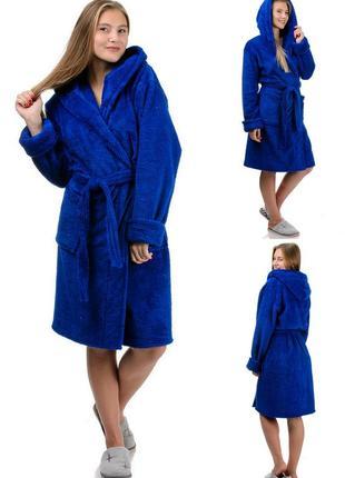 Короткий,махровый женский халат,домашний,банный