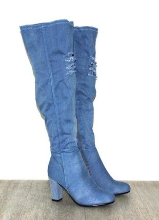 Модные джинсовые сапоги ботфорты на высоком каблуке синие, гол...