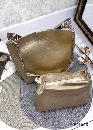 💯 шикарная золотая кожаная сумка на цепочках с косметикой