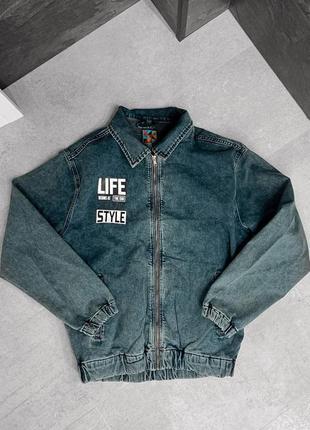 Джинсовка мужская оверсайз на замке синяя / джинсовый пиджак к...