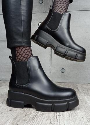 Ботинки челси демисезонные rt39-1 черные на платформе