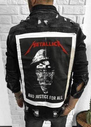 Джинсовка мужская с принтом черная / джинсовый пиджак куртка к...