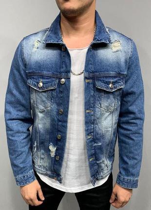 Джинсовка мужская рваная синяя / джинсовый пиджак куртка курто...