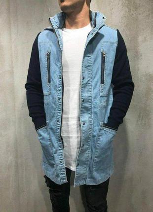 Джинсовка мужская удлиненная синяя / джинсовый пиджак куртка к...