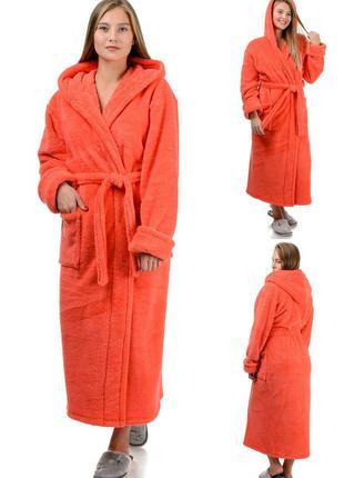 Теплый,длинный женский махровый домашний халат