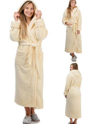 Нежный,домашний,уютный махровый,длинный женский халат