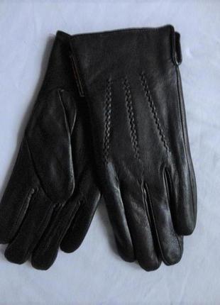 Кожаные перчатки, подкладка махра