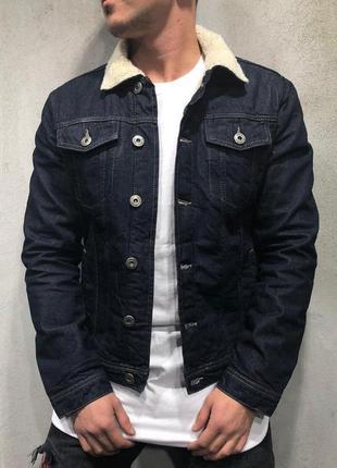 Джинсовка на меху мужская черная / джинсовый пиджак куртка кур...