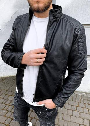 Кожанка мужская кожзам черная / куртка шкіряна чоловіча курточ...