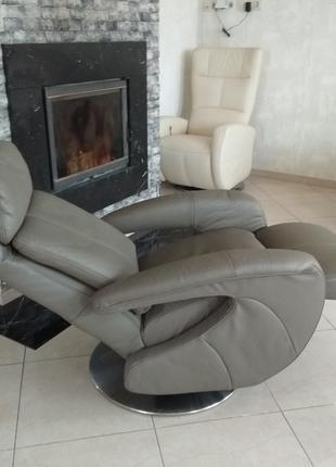 Шкіряне крісло відпочинкове нове, кресло кожаное реклайнер новое