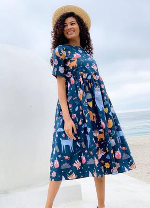 Платье миди 💙принт лисички♥️весна-лето 2021