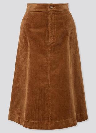 Шикарная вельветовая демисезонная юбка uniqlo