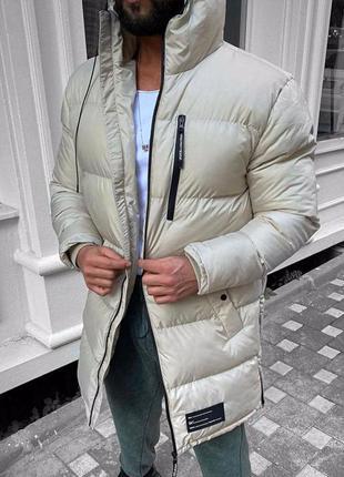 Куртка парка мужская стеганая еврозима бежевая / курточка...