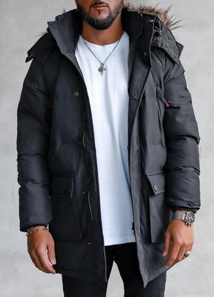 Куртка парка мужская стеганая еврозима черная / курточка чолов...
