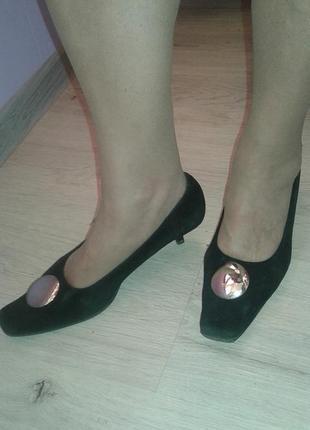 Туфли из натуральной замши р 38-стильно нарядно удобно