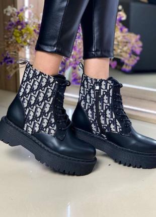 Женские Ботинки Диор Высокие Черные