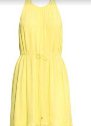 Нежное платье лимонного цвета , платье миди